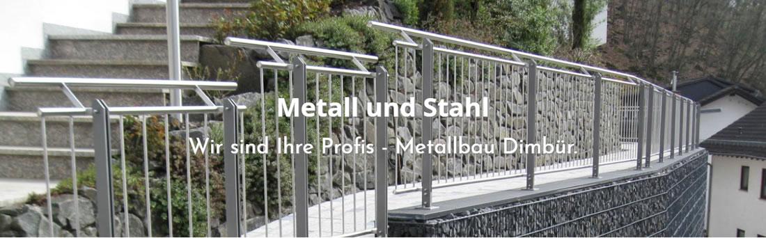 Metall und Stahlbau Flonheim - DIMBÜR: Zaunbau, Edelstahlgeländer, Verladerampen, Treppenbau, Stahl